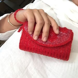 Red Beaded Bijoux Terner Clutch with Flowers